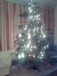 My Christmas tree looks OK all light up, but a bit sparse without the baubles!