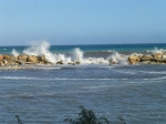 High breaking waves at Altea beach