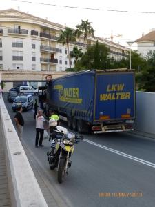 Lorry caught under a bridge