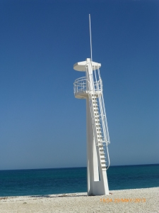 A Spanish beach with an American style life guard station.