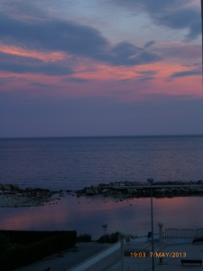 Sunset over the marine pool at Altea