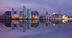 Liverpool skyline at night.