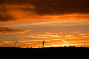 Spanish wind farm at sunset