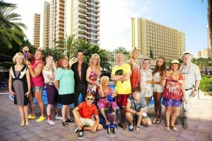 The cast of the TV series Benidorm, ready for their fun