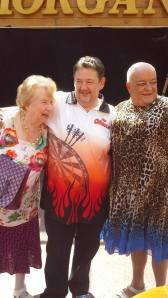 Tim Healy, Johhny Vegas and Mum Noreen on the set of TV show Benidorm as they take time to thank their fans.