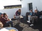 Wine tasting in a sunlight courtyard