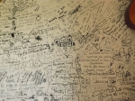 Writing on a wall in a restaurant